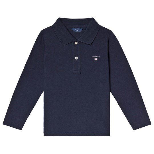 GANT Navy Classic Logo Long Sleeve Pique Polo 410