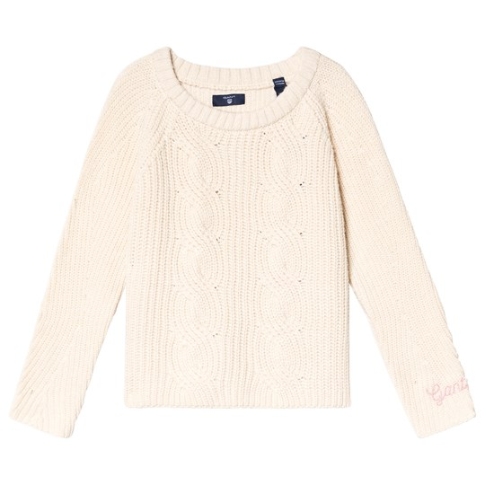 GANT Cream Cable Knit Cropped Sweater 130