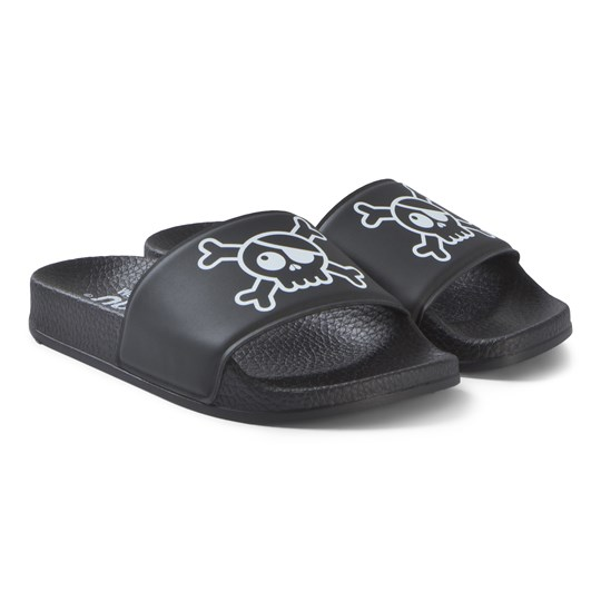 NUNUNU Skull Slide Sandals Black Black