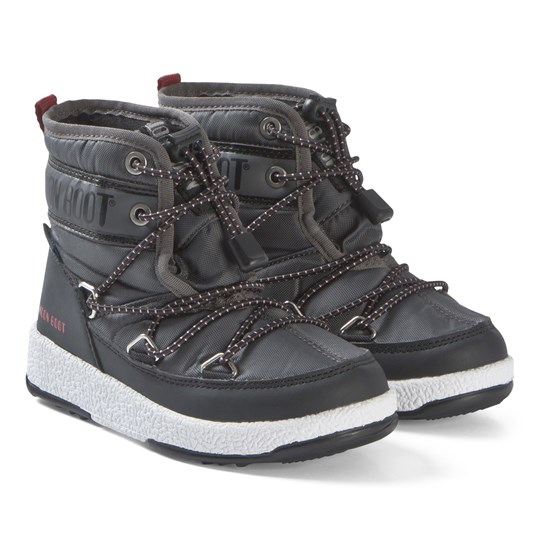 Moon Boot Black and Castlerock JR Mid Boots BLACK-CASTLEROCK
