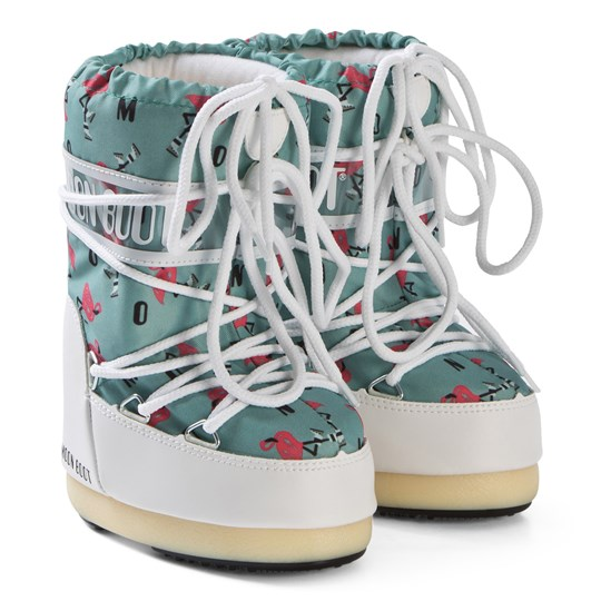 Moon Boot White and Light Green Flamingo Boots WHITE-LIGHT GREEN