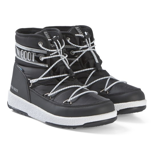 Moon Boot Black and Silver JR Mid WP Boots BLACK-SILVER