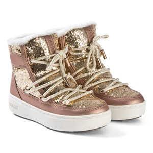 Image of Moon Boot Gold and Copper Pulse Z Glitter Boots 35 (UK 2.5) (3139759577)
