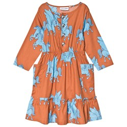 Mini Rodini Pegasus Flounce Dress Brown