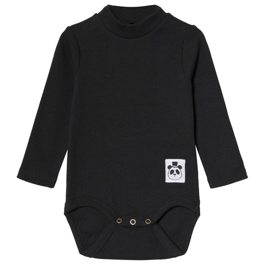 Mini Rodini Solid Rib Turtleneck Baby Body Black Black