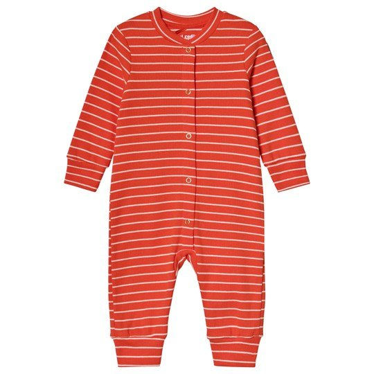 Mini Rodini Stripe Rib One-Piece Red Red