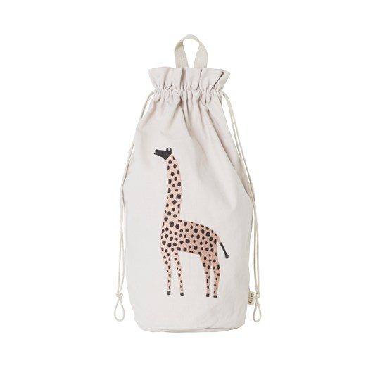 ferm LIVING Safari Storage Bag Giraffe Off-White Raw Canvas