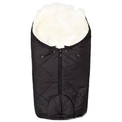 BOZZ Small Footmuff with Long-Haired Lambskin Black/White