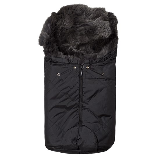 BOZZ Small Footmuff with Long-Haired Lambskin Black/Grey Multi