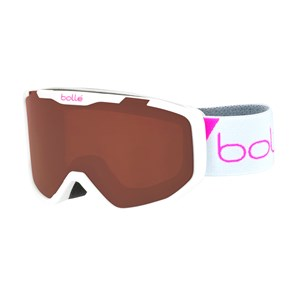 Image of Bollé Rocket Ski Goggles Matte White Race/Rosy Bronze Lens Small (6+ years) (3125323621)