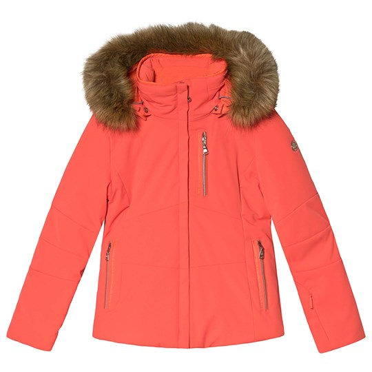 Poivre Blanc Faux Fur Hooded Stretch Ski Jacket Nectar Orange 0112