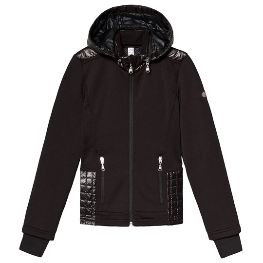 Poivre Blanc Stretch Hooded Zip Mid-Layer Black 9000