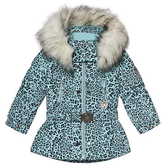 Poivre Blanc Leopard Embroidered Back Belted Ski Jacket Dream Blue 9033