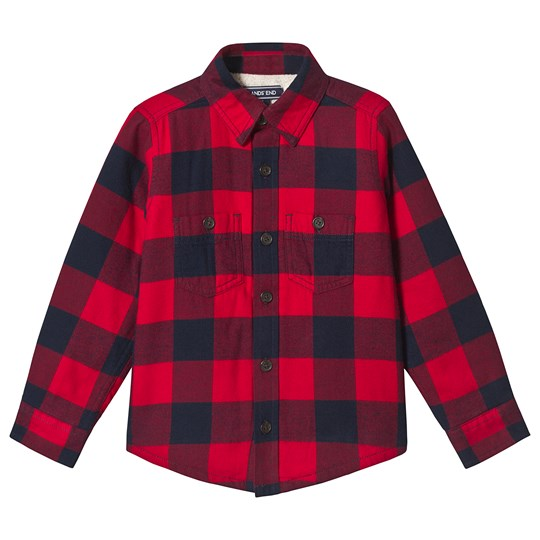 Lands' End Red and Navy Check Shirt Jacket B5X