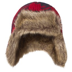 Lands' End Red and Navy Buffalo Trapper Hat