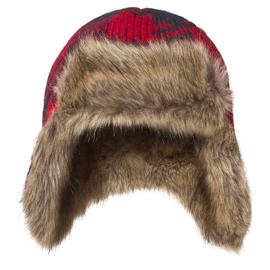 c830a31466279 Lands  End - Red and Navy Buffalo Trapper Hat - Babyshop.com