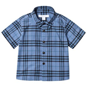 Image of Burberry Short Sleeve Check Detail Baby Shirt Blue 12 months (3125265103)