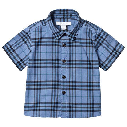 Burberry Short Sleeve Check Detail Baby Shirt Blue A2167