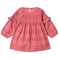 Burberry Ruffle Detail Check Klänning Coral Red