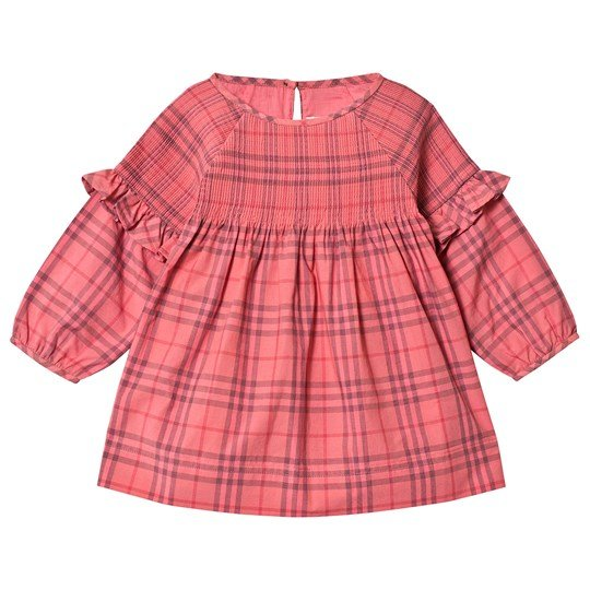 Burberry Ruffle Detail Check Dress Coral Red A1356