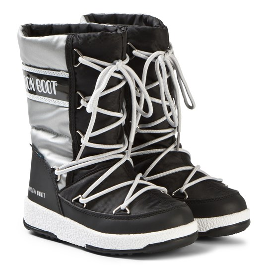 Moon Boot Black and Silver WP Quilted Boots BLACK-SILVER
