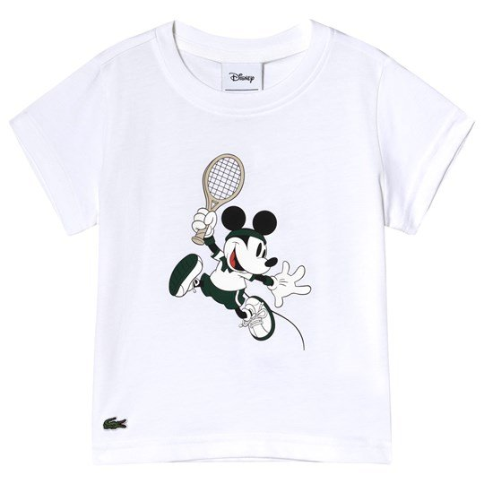 Lacoste White Mickey Mouse Tennis Print 'Front & Back' Tee 001