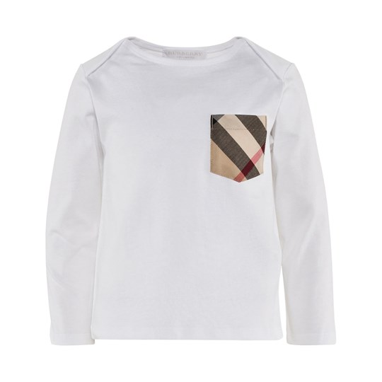 Burberry Check Pocket Long Sleeve T-Shirt  White