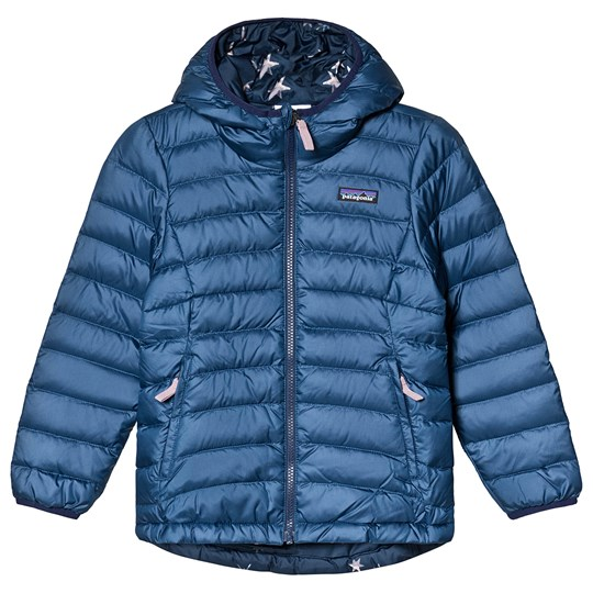 Patagonia Navy & Print Reversible Down Hooded Jacket SNBL