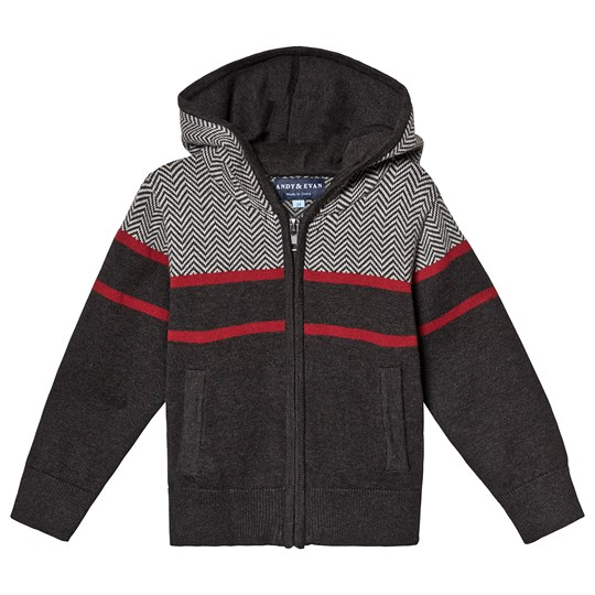 Andy & Evan Grey Herringbone Hooded Sweatshirt BKG