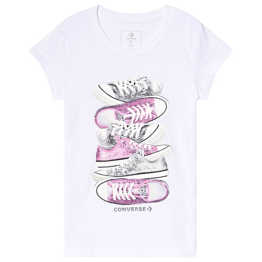 Converse White Sequin Shoes Graphic Tee 001