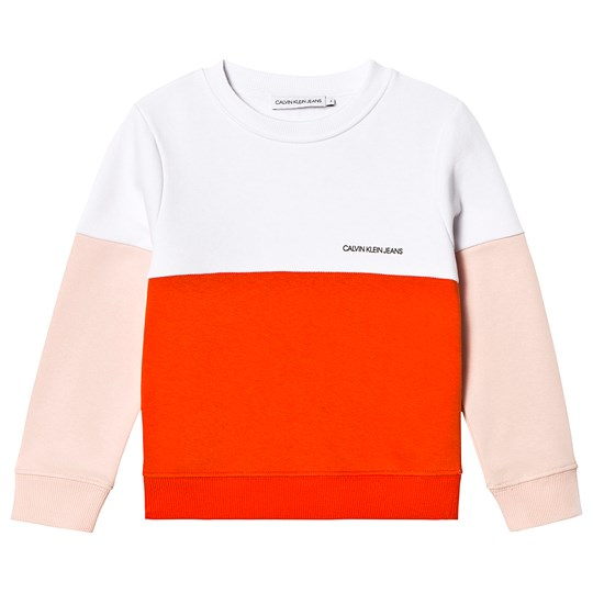 Calvin Klein Jeans White, Pink and Red Color Block Logo Sweatshirt 601