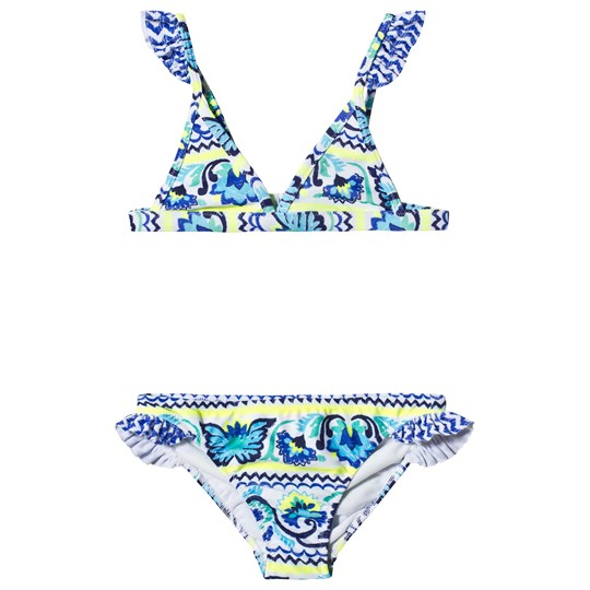 Sunuva Blue and Neon Yellow Peruvian Stitch Bikini Blue