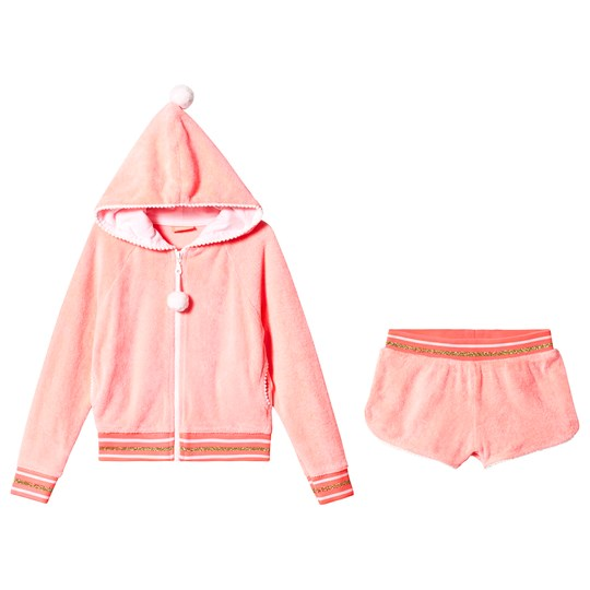Sunuva Sherbet Pink Terry Hoodie and Shorts Set Coral