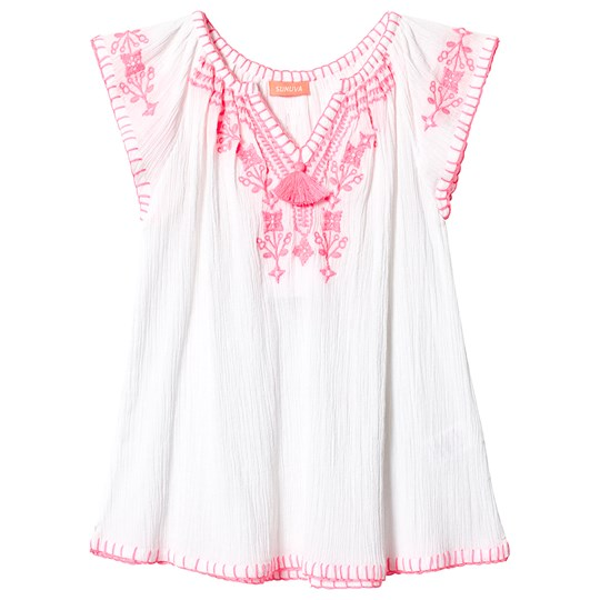Sunuva White and Pink Embroidered Cheesecloth Dress White