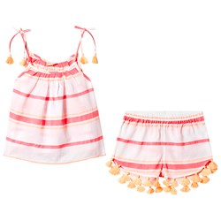 Sunuva Pink and Coral Stripe Top and Shorts Set