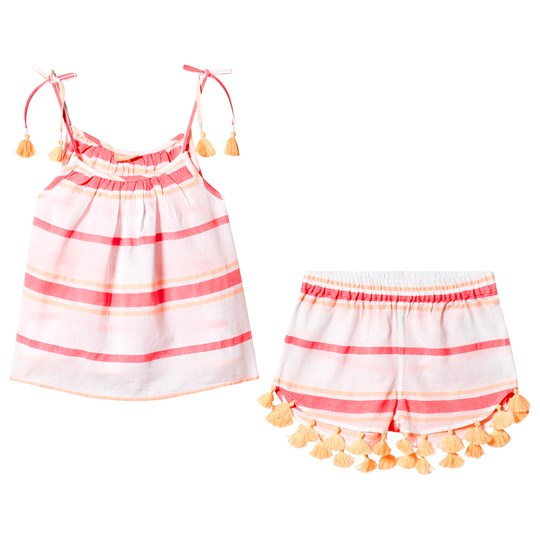 Sunuva Pink and Coral Stripe Top and Shorts Set Pink