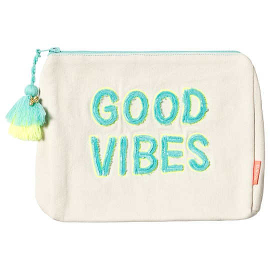 Sunuva Yellow Good Vibes Wash Bag AQUA AND NEON YELLOW