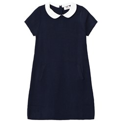 Cyrillus White and Navy Stripe Dress with Collar