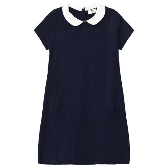 Cyrillus White and Navy Stripe Dress with Collar 6401