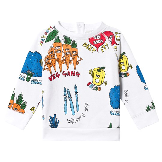 Stella McCartney Kids White Veggie Print Sweatshirt 9090 - Veg Gang Aop White