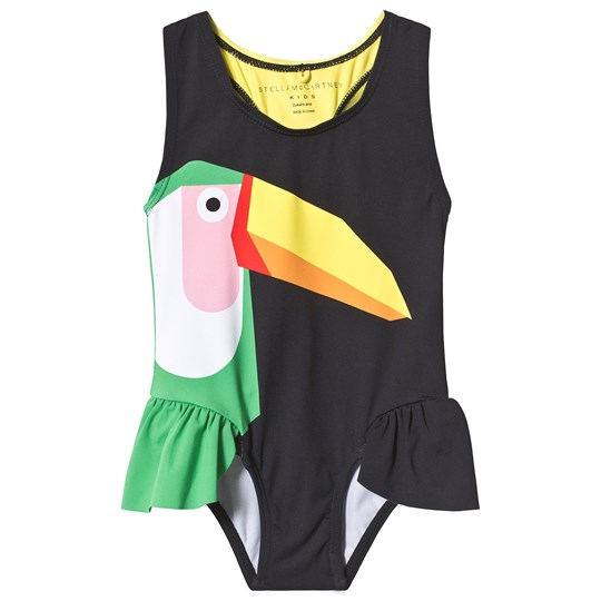 Stella McCartney Kids Black Toucan Ruffle Swimsuit 1073 - Black