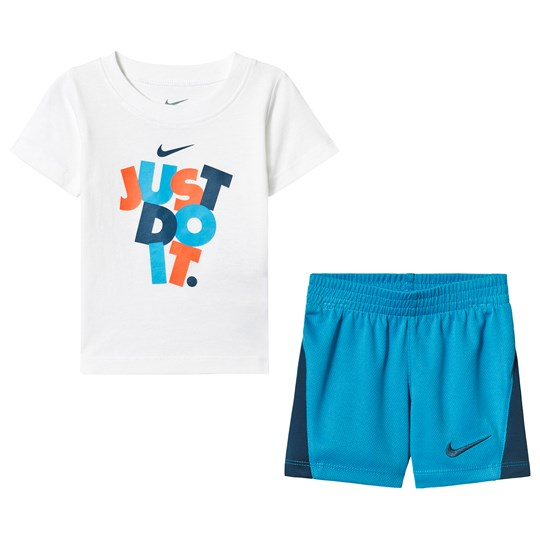 NIKE White and Blue Jdi Block Tee and Short Set 001