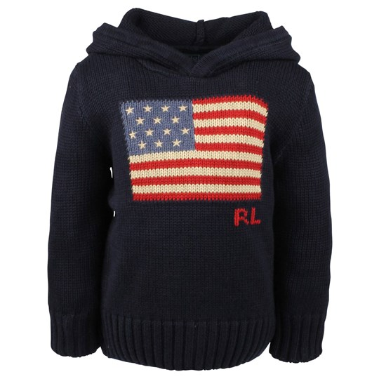 Ralph Lauren LS Hooded Flag PO RL Navy  Blue