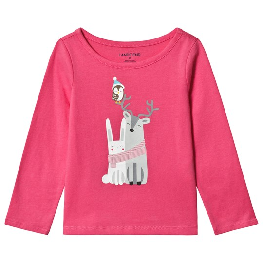 Lands' End Pink Winter Friends Long Sleeve Tee 6QN