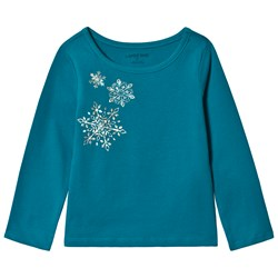 Lands' End Turquoise Snowflake Long Sleeve Tee