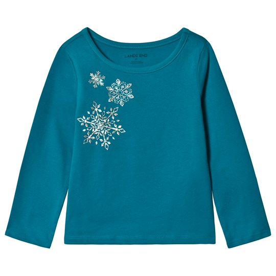Lands' End Turquoise Snowflake Long Sleeve Tee EUY