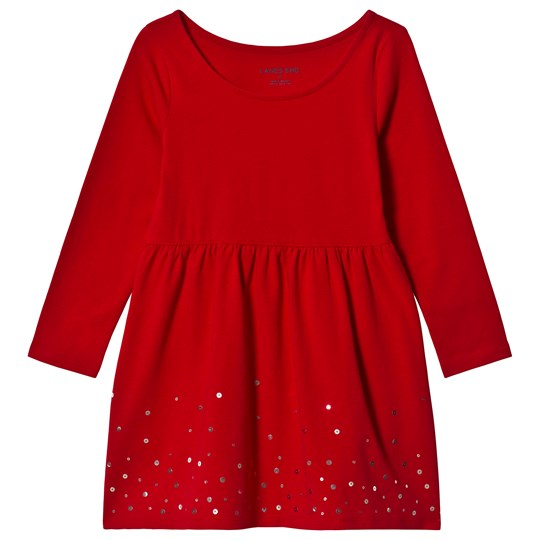 Lands' End Red Sequin Jersey Dress W1F