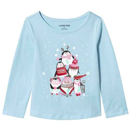 Lands' End Blue Penguin Party Long Sleeve Tee EWB