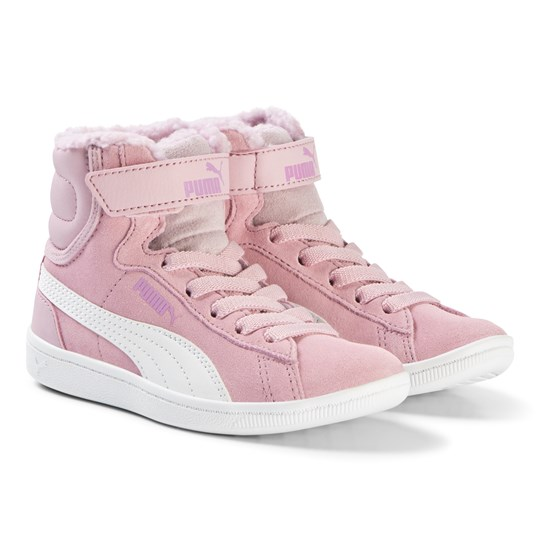 Puma Pink Vikky High Top Kids Sneakers Winsome Orchid-Puma White