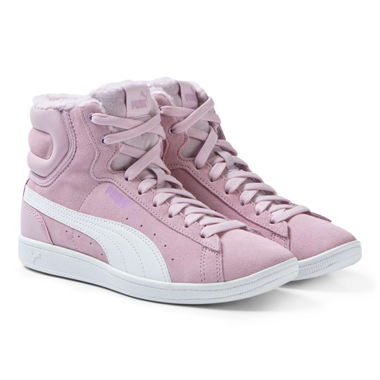 Puma Pink Vikky High Top Junior Sneakers Winsome Orchid-Puma White